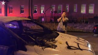 News vehicle set on fire in Kansas City, Missouri during George Floyd protests