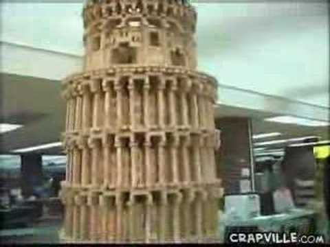 Clumsy Reporter Knocks Down Jenga Tower video