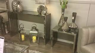 Sloane Chrome Console Table Hallway Table With Glossy Glass Effect Top