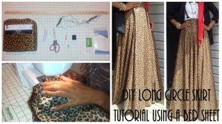 DIY  Long Circle Skirt Tutorial Part 1   Using a Bed Sheet