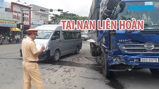 Tai nạn liên hoàn 5 ô tô tại thành phố Biên Hòa