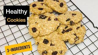 3 ingredient Banana Oatmeal Cookies (Healthy Recipe)
