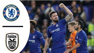 Chelsea Vs PAOK 4-0 All Goals Highlight Europa League 30112018