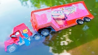 Disney Cars Mack Truck Crossing On Deep Water With Tayo Little Bus Toys For Kids