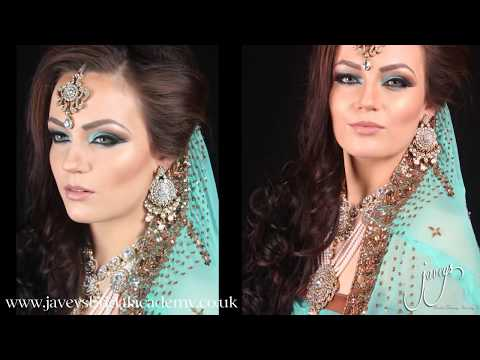 Arabic/ Asian Bridal Makeup tutorial Turquoise(Blue) and Brown by Javeys Bridal