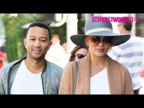 John Legend & Chrissy Teigen Lunch At La Scala & Go Shopping At Alo Yoga In Beverly Hills 6.22.16