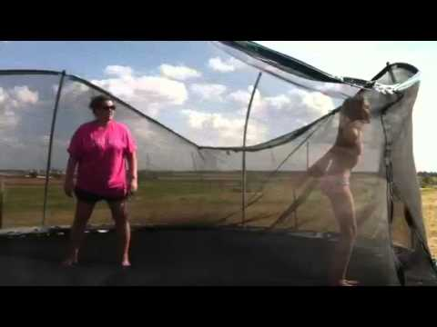 Lasey jumping on trampoline