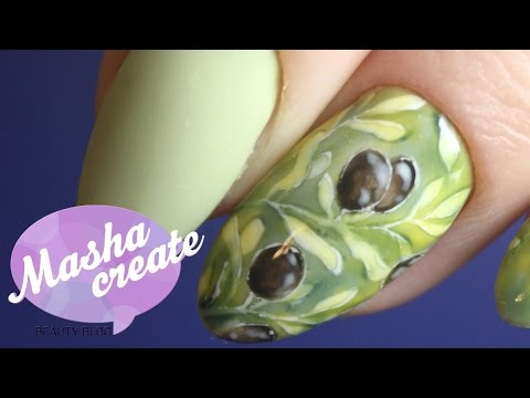 Рисунки на оливковых ногтях