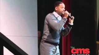 Will Smith takes the time to visit CMS students