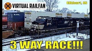 Three train race at Elkhart, IN!!!  Just wish we could have all been there!