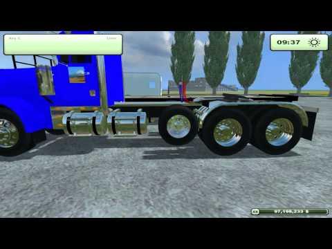 Farming Simulator 2013 Mods- Camper trailer, Freightliner, Gooseneck bail trailer.