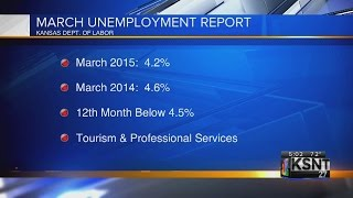 video The Kansas jobs report released for March 2015 show the state's March seasonally adjusted unemployment rate was 4.2 percent, unchanged from February and down from 4.6 percent in March 2014.