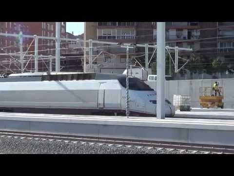 AVE S-100 realizando pruebas en la estación de Alicante de la LAV Alicante-Madrid. Grabado el 29/05/2013.