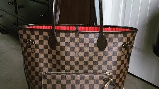 Louis Vuitton Neverfull MM Damier Ebene + Whats in my bag ♥