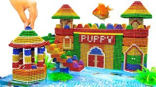 DIY - Build Amazing Aquarium Puppy Mud Dog House With Magnetic Balls (Satisfying) - Magnet Balls