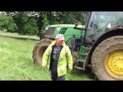 John Deere Tractor gets stuck!! (Funny Farmer reaction)