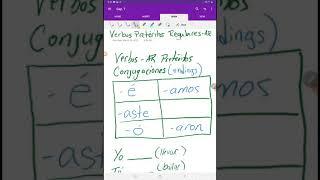 Verbos Pretéritos - AR y -car, -gar, -zar