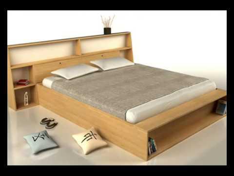 Cama japonesa camas de madera youtube for Cama queen size con cajones