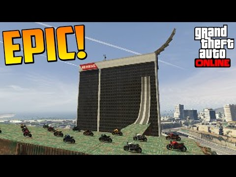 MEGA SALTOS ÉPICOS! - Gameplay GTA 5 Online Funny Moments (Carrera GTA V PS4)