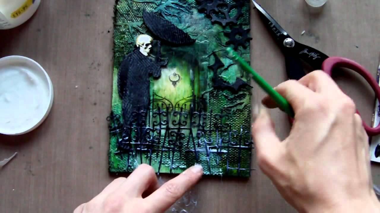 Mixed media art canvas gothic halloween youtube for Mixed media canvas art ideas