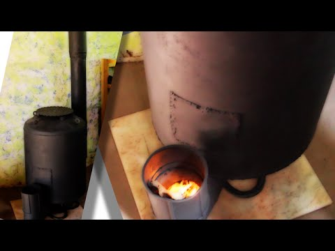 Rocket Stove Space Heater for Superadobe Earthbag House Construction (superadobe)
