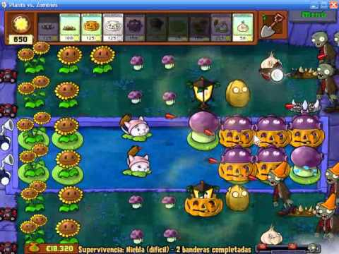 Plants vs Zombies Supervivencia Niebla (Difícil)