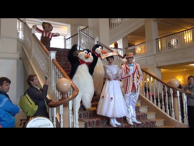 Descent on the Staris, Disneyland Hotel Paris - Characters Include Mary, Bert, Mickey, Gepetto