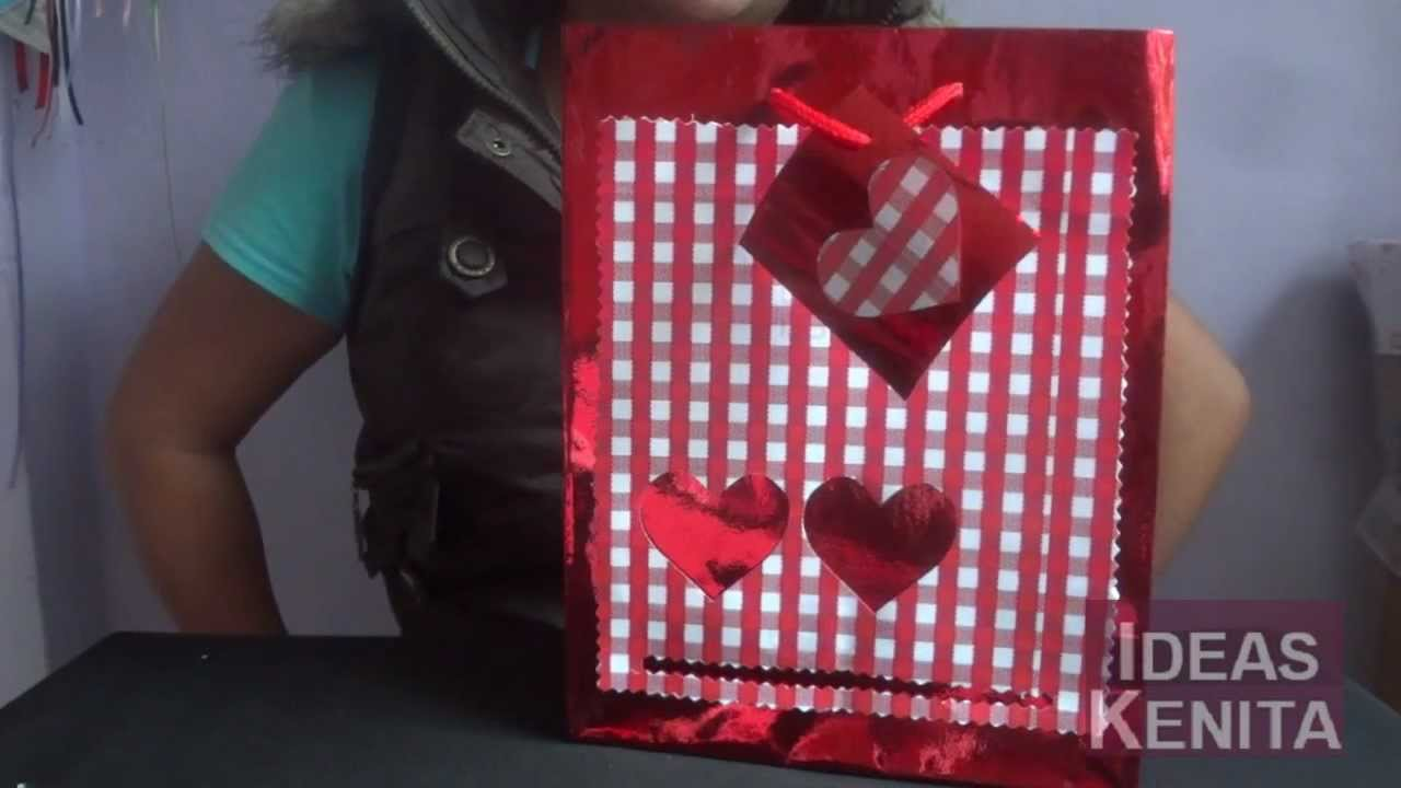 Como decorar bolsa de regalo para d a de san valent n - Como decorar bolsas de papel ...