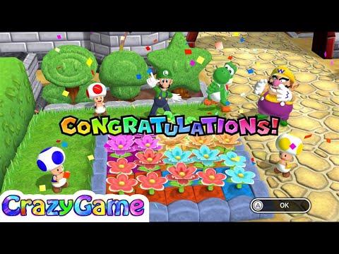 Mario Party 9 Garden Battle #2 Wario vs Luigi vs Toad vs Yoshi Gameplay (Master CPU)