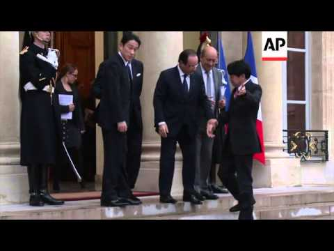 French president meets Japanese ministers for defence and foreign affairs