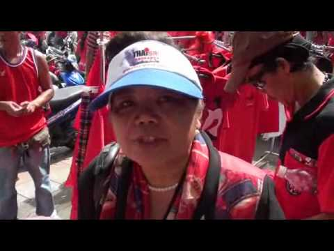 Red Shirts Protest at Democracy Monument