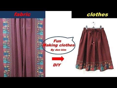DIY 여성 dot print 양샤링지 밴딩 샤링 스커트 skirt 옷만들기 making clothes 동대문