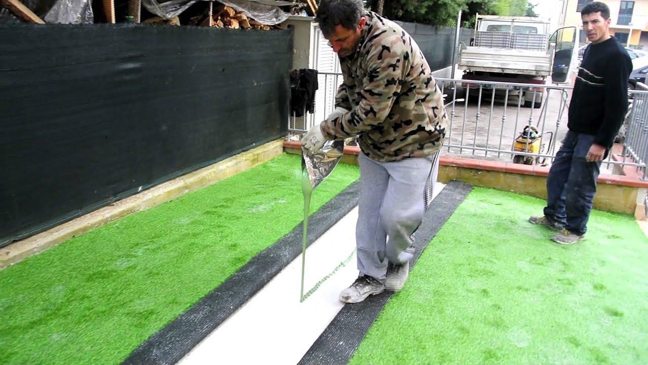 installazione giardino in erba sintetica pratosempreverde youtube