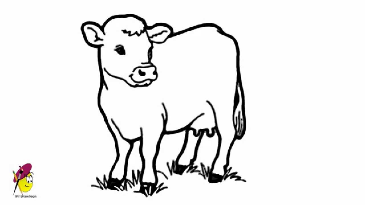 Simple Cow Head Drawing Cow Easy Drawing How to