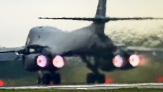 Rockwell B-1 Lancer Bomber Setting Off Car Alarms On Takeoff.
