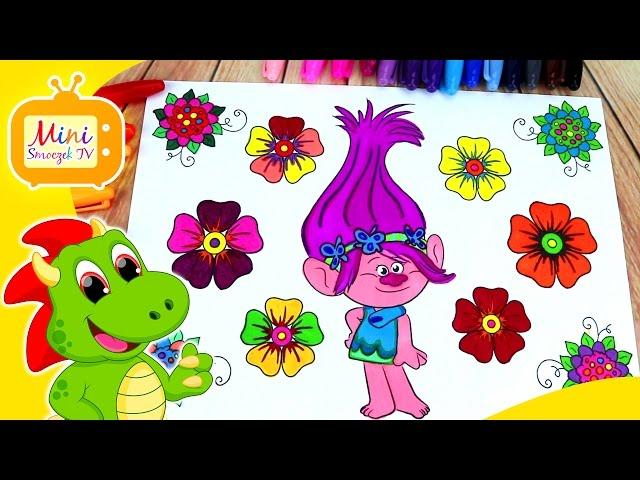 Trolle - Poppy Kolorowanka Nauka kolorów dla dzieci PO POLSKU Edukacyjny Filmik Dla Najmłodszych