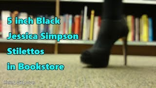 5 inch Black Jessica Simpson Stilettos in Bookstore - Black Check Stockings - High Heels Modelling