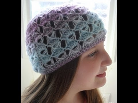 HOW TO CROCHET - BROOMSTICK LACE BEANIE HAT (slouchy ...