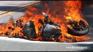සංවේදී අය මේක බලන්න එපා Motorcycle Crash & Burn on Mulholland