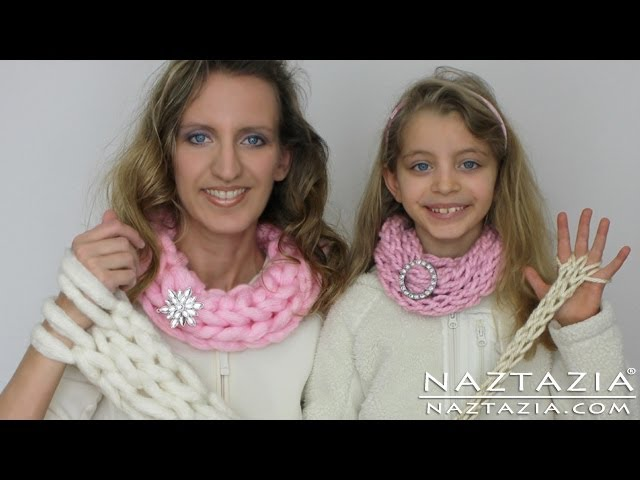 DIY Learn How To Easy Arm Knitting & Finger Knitting Knit Arms Fingers Inifinty Scarf Cowl Necklace