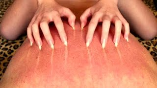 ASMR | Back scratching session with long sharp bare nails!