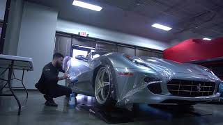 Paint protection film on ferrari 599 front fender, how its made