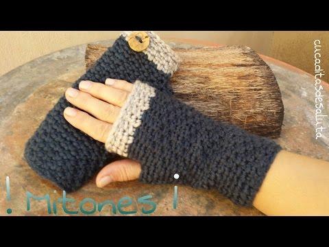 Mitones (Guantes sin dedos ) a Crochet / Punto cruzado