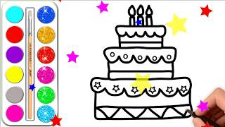 Birthday Cake Drawing & Coloring For Kids  l Coloring Pages For Children with Glitter Colors