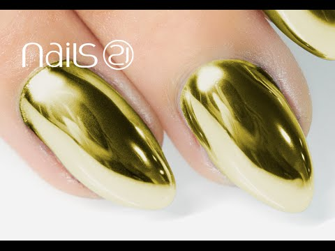 GOLD MIRROR POWDER NAILS Step by Step Tutorial - Nails 21