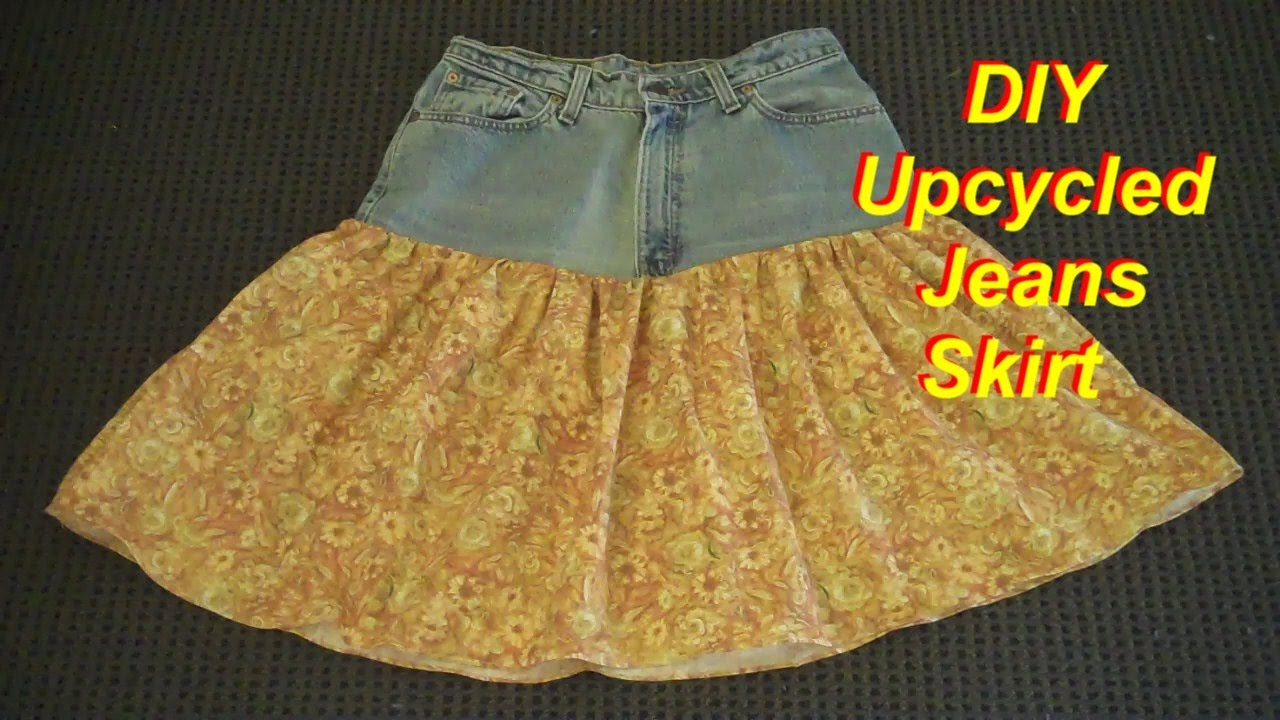 how to make a skirt from an old pair of jeans youtube