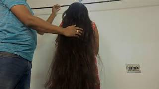 Impressive Thick Long Hair Play by Male Hair Dresser | Desi Long Hair Girl