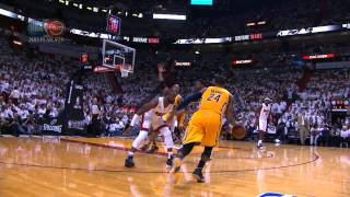 Paul George splits the D & throws down the slam!