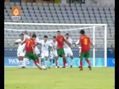 Cristiano Ronaldo - Amazing Free Kick Hits The Post - Athens 2004: Portugal vs Iraq