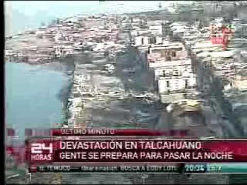 CHILE TSUNAMI OLA GIGANTE TERREMOTO HOY 27 FEBRERO Pueblo sube a los serros